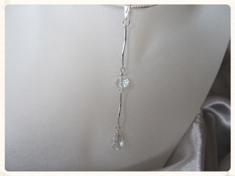 Faceted Sparkly AB Rainbow Rock Crystals & Sterling Silver Curved Bars Pendant